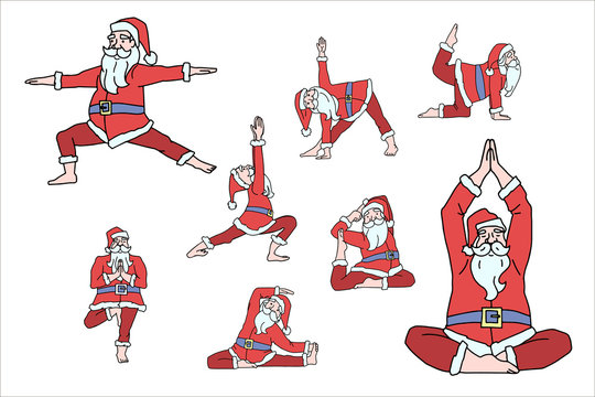 Santa Claus character doing yoga pose illustration set. Vector illustration isolated on white background. Red and white.