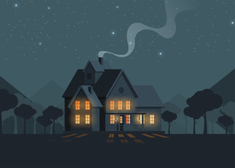 Family home in flat style. Vector illustration.