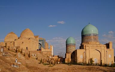 the historical necropolis of Shakhi Zinda in Samarkand, Uzbekistan