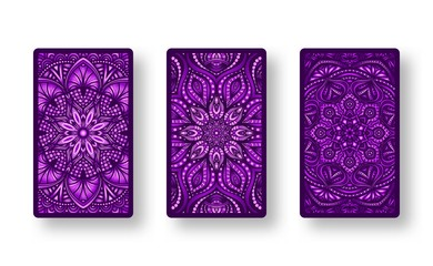 Floral stylized purple pattern. Collection back side of cards