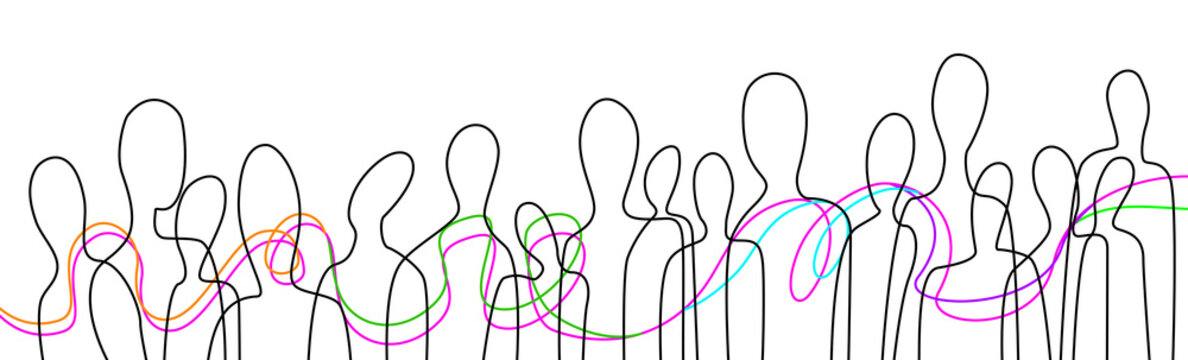 connect the people concept, crowd of people connected with colored lines, communication creative contemporary idea,
