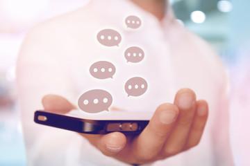スマートフォンの吹き出し SNS 風船 バルーン Social media speech bubble chat concept icons