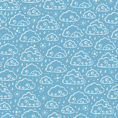 Hand Drawn Doodle Cartoon Clouds Vector Seamless pattern. Rainy Sky with Stars endless background.