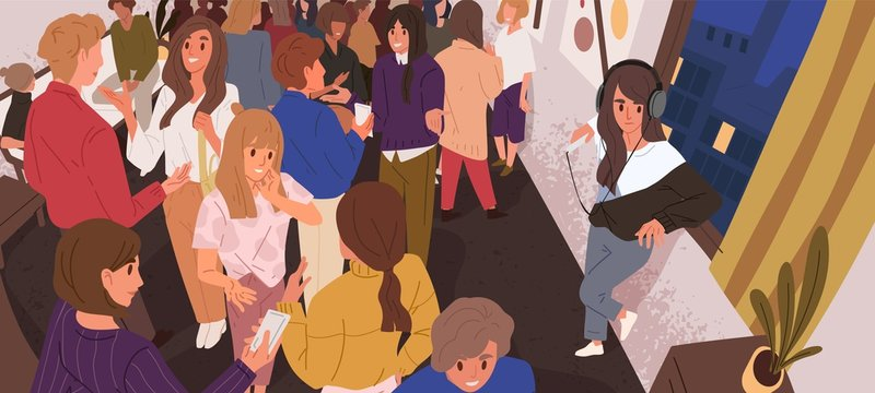 Discomfort in crowd flat vector illustration. Lonely introvert girl among people. Mental health, psychology, psychological problems. Communication difficulties idea. Social anxiety.
