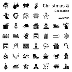 Christmas decorations icons (editable vectors)