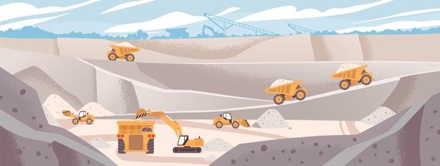 Papiers peints Cartoon voitures Quarry landscape flat vector illustration. Marble mining concept. Industrial machinery and transport. Excavators and dump trucks at opencast. Mine production, stone quarrying process.
