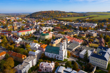 Panoramic view from the drone on the city Krnov. Czech Republic