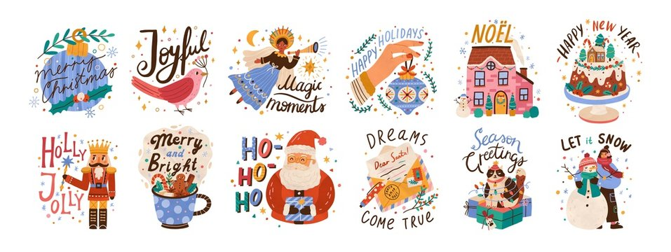 New year lettering compositions set. Colorful festive vector illustrations collection. Merry christmas calligraphy. Seasonal Xmas greetings bundle. Happy holidays. Let it snow typography.