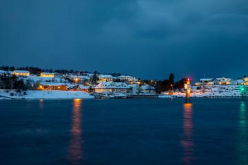The blue hour in Brønnøysund town, in Nordland county