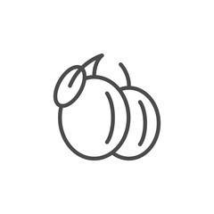 Plum line outline icon fruit concept