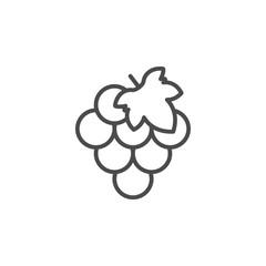 Grape line outline icon fruit concept