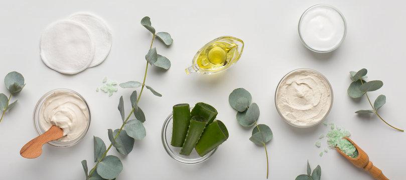 Eco cream products of aloe vera, olive oil and sea salt on white