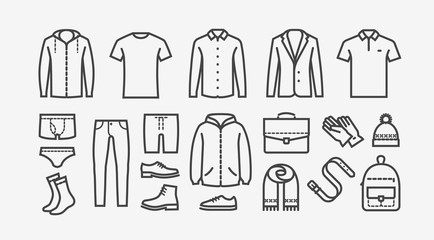 Clothing icon set in linear style. Fashion, shopping vector illustration Wall mural