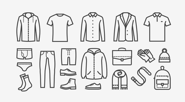 Clothing icon set in linear style. Fashion, shopping vector illustration