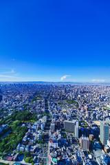 Photo sur Aluminium Bleu fonce 都市風景 大阪 関西 日本 キタ パノラマ ハイアングル 鳥瞰図 快晴 青空 都市 ビジネス 不動産