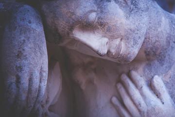 Fototapete - Death. Angel. Ancient statue. (pain, fear, future, the end concept)