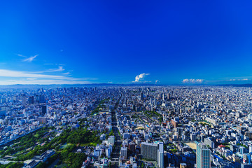 Zelfklevend Fotobehang Donkerblauw Landscape of Osaka city bird view in Japan