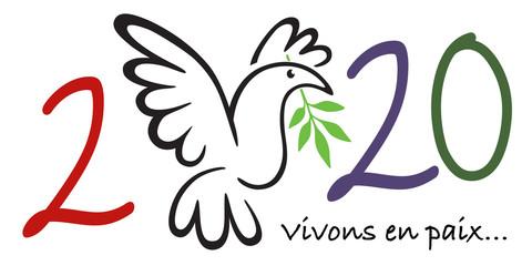 Illustration d'une colombe tenant dans son bec un rameau d'olivier, pour souhaiter une année 2020 sous le signe de la paix dans le monde.