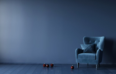 Festive monochrome interior in dark blue with a velour armchair