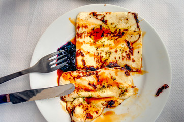 Grilled Cheese with Mojo Sauce, Traditional dish from Canary Islands