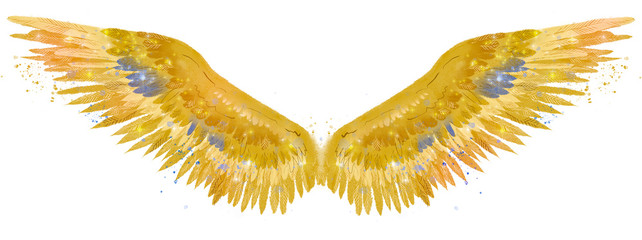 Beautiful golden wings watercolor spreaded wings with touch of blue color