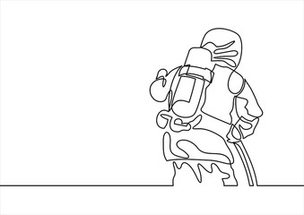continuous line drawing of - firefighter