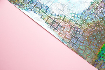 Holographic background with pink, modern trends. Trend