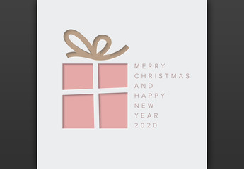 Christmas Card Layout with Present