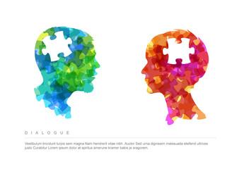 Dialogue Puzzle Concept Illustration Layout