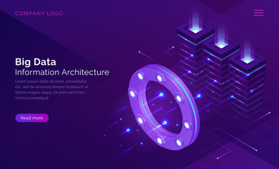 Big data, information architecture isometric technology concept vector. Information flow through luminous circle, data traffic analysis, server room with neon blue connections, purple landing web page Wall mural