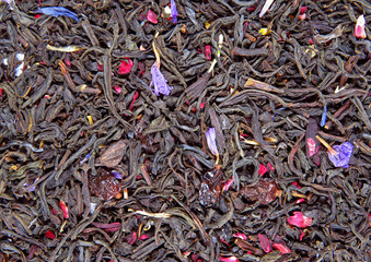 Dry tea leaves with barberry