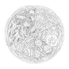 Pizza from different slices top view coloring isolated on white coloring book page vector illustration.