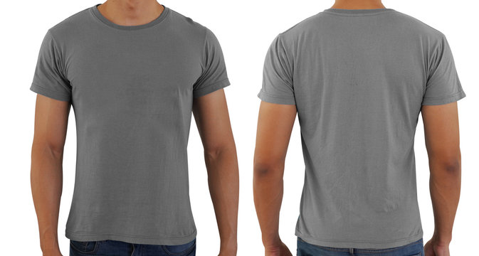 Grayblank copy space  t-shirt on a man body template on white background