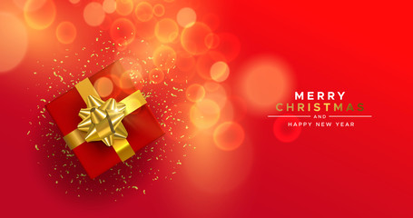 Wall Mural - Christmas New Year red gold top view gift box card