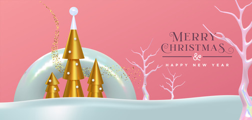 Wall Mural - Christmas New Year abstract modern 3d gold card