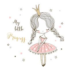Estores personalizados con tu foto Cute little Princess in Doodle style. Vector.