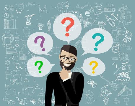 Thinking business man standing under question marks. Young caucasian business man thinking. Thinking business woman surrounded by question marks. Vector flat design illustration.