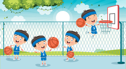 Little Kid Playing Basketball Outside
