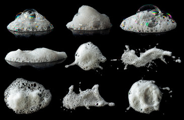 Obraz Set of soap foam Shaving cream bubble isolated on black background - fototapety do salonu