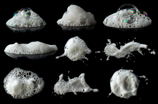 Set of soap foam Shaving cream bubble isolated on black background