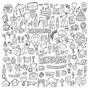 Set of wedding Drawing illustration Hand drawn doodle Sketch line vector eps10