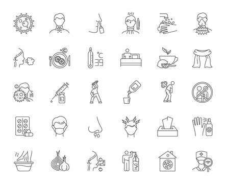 Common cold linear icons set. Influenza treatment. Disease cure, illness. Cough, sore throat. Vaccination. Headache. Thin line contour symbols. Isolated vector outline illustrations. Editable stroke