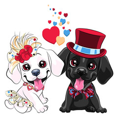 Lovers couple of cute cartoon labrador retriever dogs, black labrador gentleman in a hat and bow tie and white labrador lady in skirt and flower hat