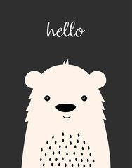 cute winter card with bear