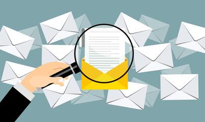 Obraz Email marketing concept design. Vector illustration, flat style. - fototapety do salonu