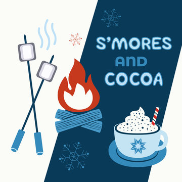 Warm cozy smores and cocoa welcome sign vector