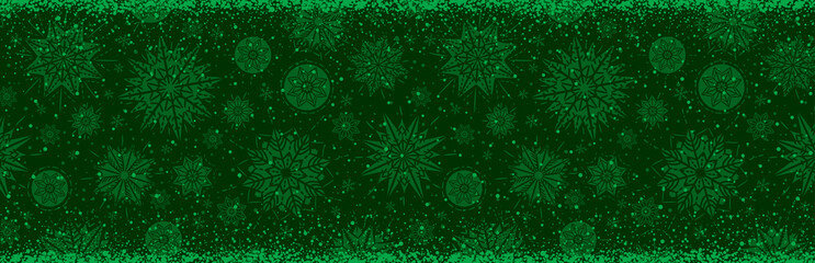 Wall Mural - Green christmas banner with snowflakes. Merry Christmas and Happy New Year greeting banner. Horizontal new year background, headers, posters, cards, website.Vector illustration