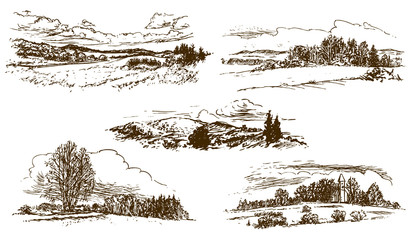 countryside landscape, set of hand-drawn illustrations, drawing on white background (vector)