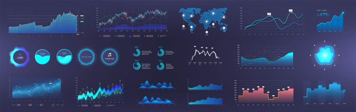 Dashboard Infographic template with info charts, diagrams elements, online statistics and data analytics. Information panel Mockup. UI, UX, KIT elements design. Vector graphics and infographics set.