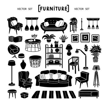 Vector set with isolated living room furniture on white background. Graphic set on the theme of home interior design